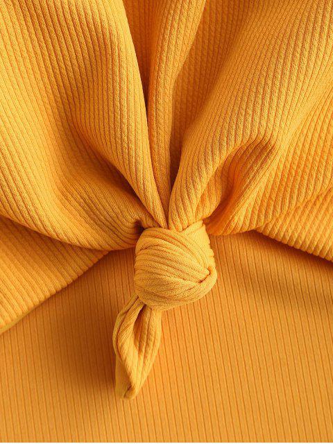 ZAFUL羅紋打結切出泳裝 - 金黃色 S Mobile