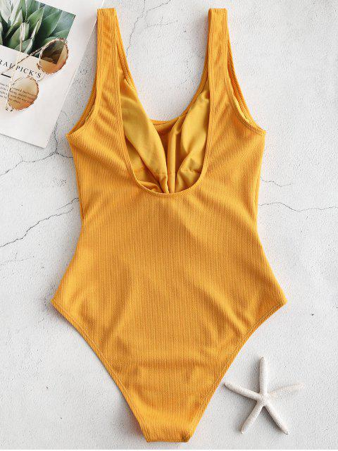 unique ZAFUL Ribbed Knotted Cut Out Swimsuit - GOLDEN BROWN XL Mobile