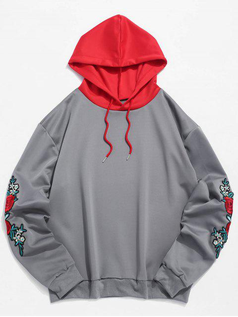 ZAFUL Sweat à Capuche Fleur Brodé à Manches Applique à Cordon - Gris 2XL Mobile