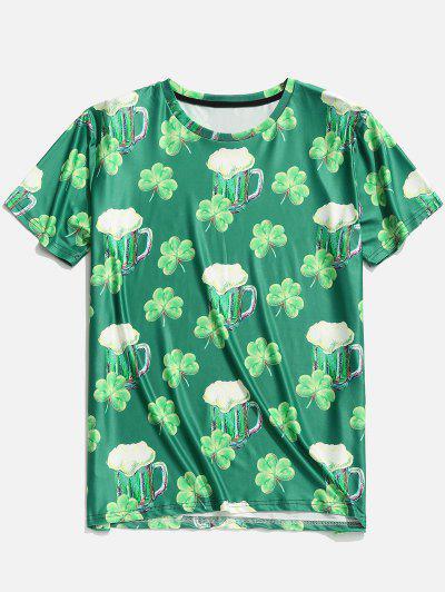 Image of 3D Clover Beer Print Short Sleeve T-shirt