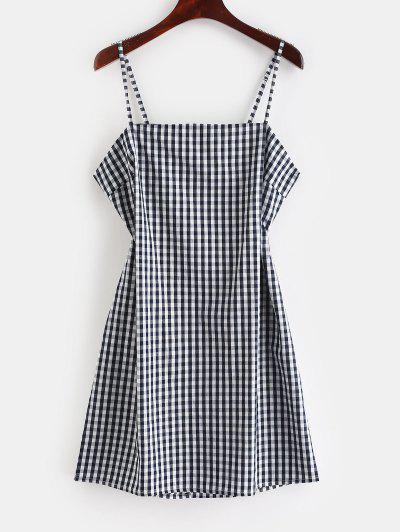a620e1c59c7 ZAFUL Tie Gingham Cut Out Mini Dress - Dark Slate Blue S ...