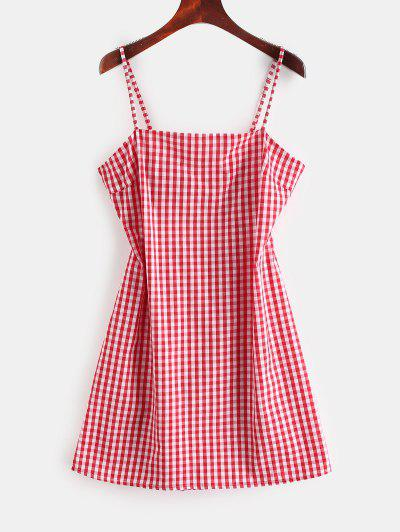 b3229ea6052 ZAFUL Tie Gingham Cut Out Mini Dress - Red M