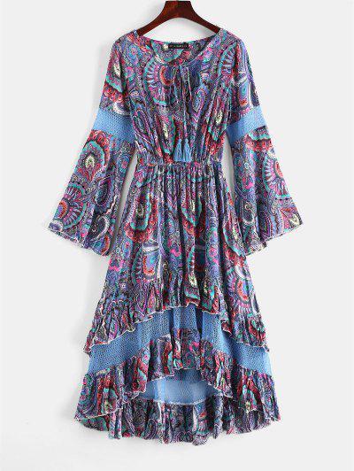 ZAFUL Flounce Flare Sleeve Crochet Panel Dress - Slate Blue S