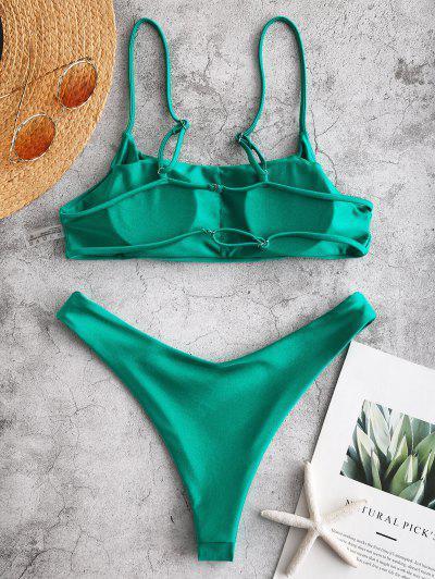 5fd095b8fda ... ZAFUL Shiny Strappy Bralette Bikini Set - Sea Turtle Green L