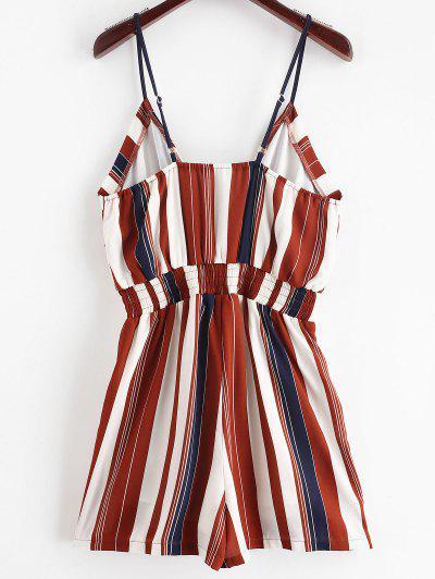 33396e0871c ... ZAFUL Cami Smocked Stripes Romper - Multi S