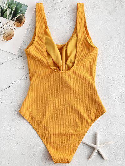 d22d2e1676446 ... ZAFUL Ribbed Knotted Cut Out Swimsuit - Golden Brown S
