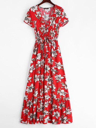 25aac8712a Conful Surplice Floral Low Cut Slit Dress - Red M ...
