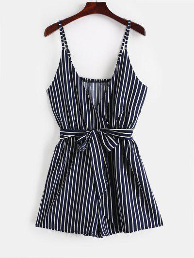 ZAFUL Striped Surplice Cami Romper - Lapis Blue S
