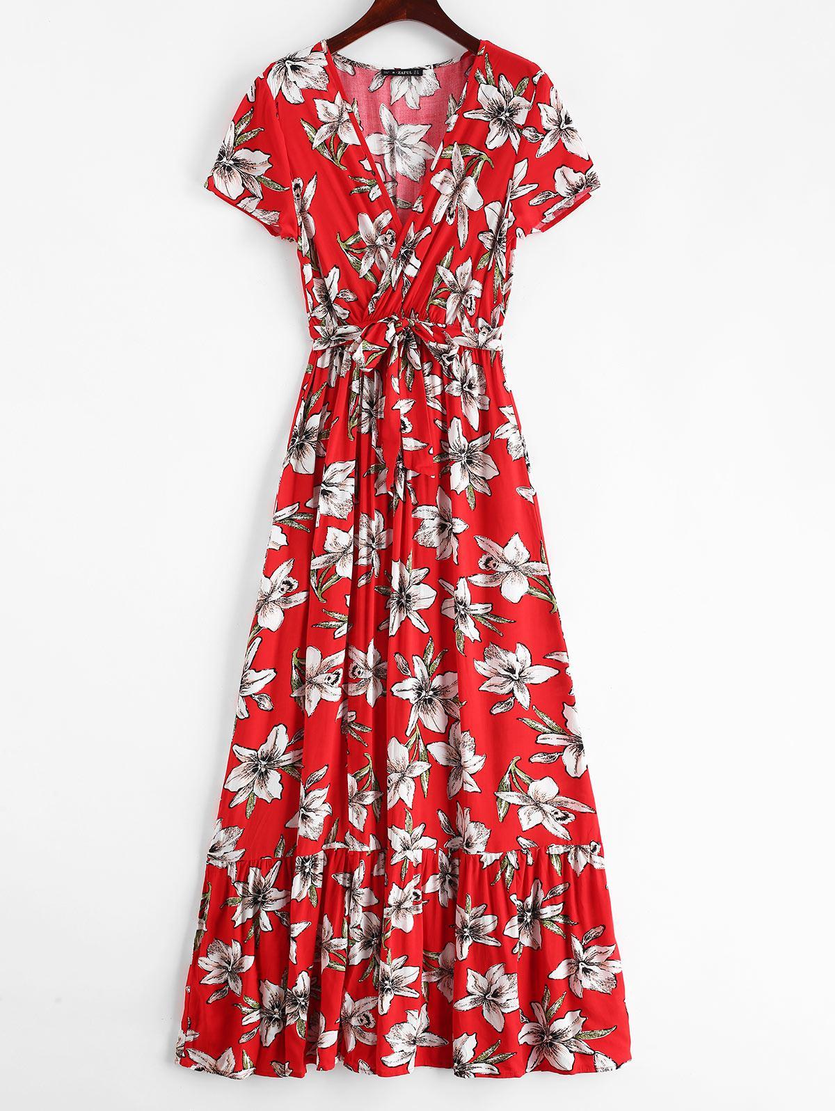 ZAFUL Surplice Floral Low Cut Slit Dress, Red