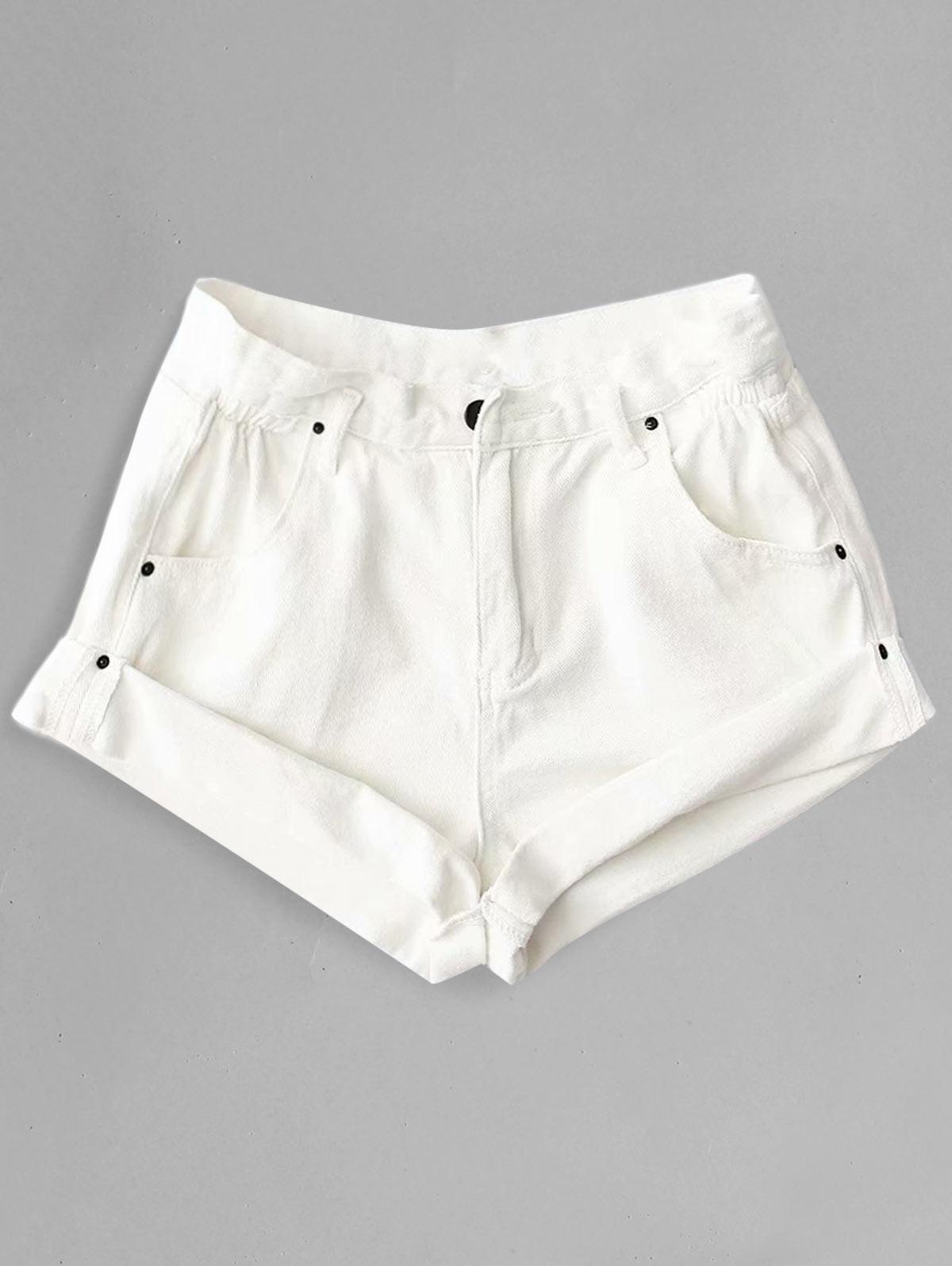 Rolled Cuffs High Waisted Denim Shorts, White