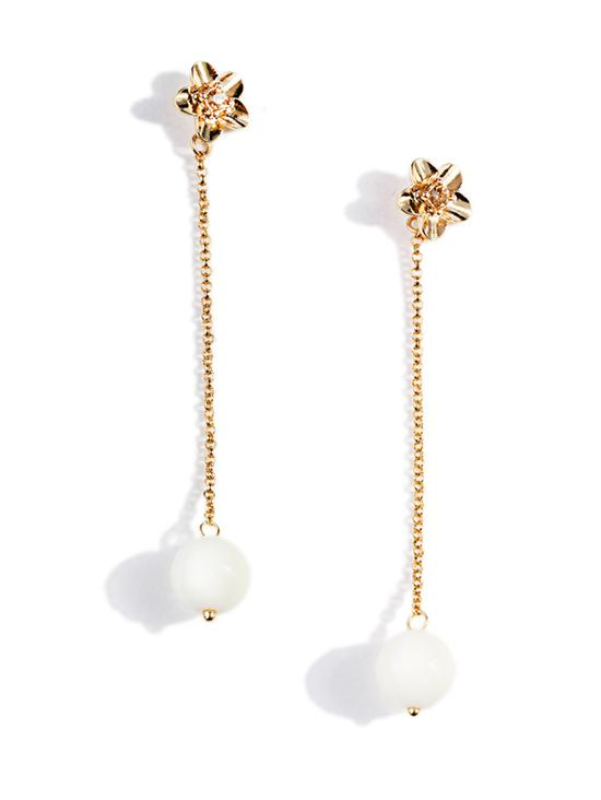 Pearl Chain Floral Stud Earrings, Gold
