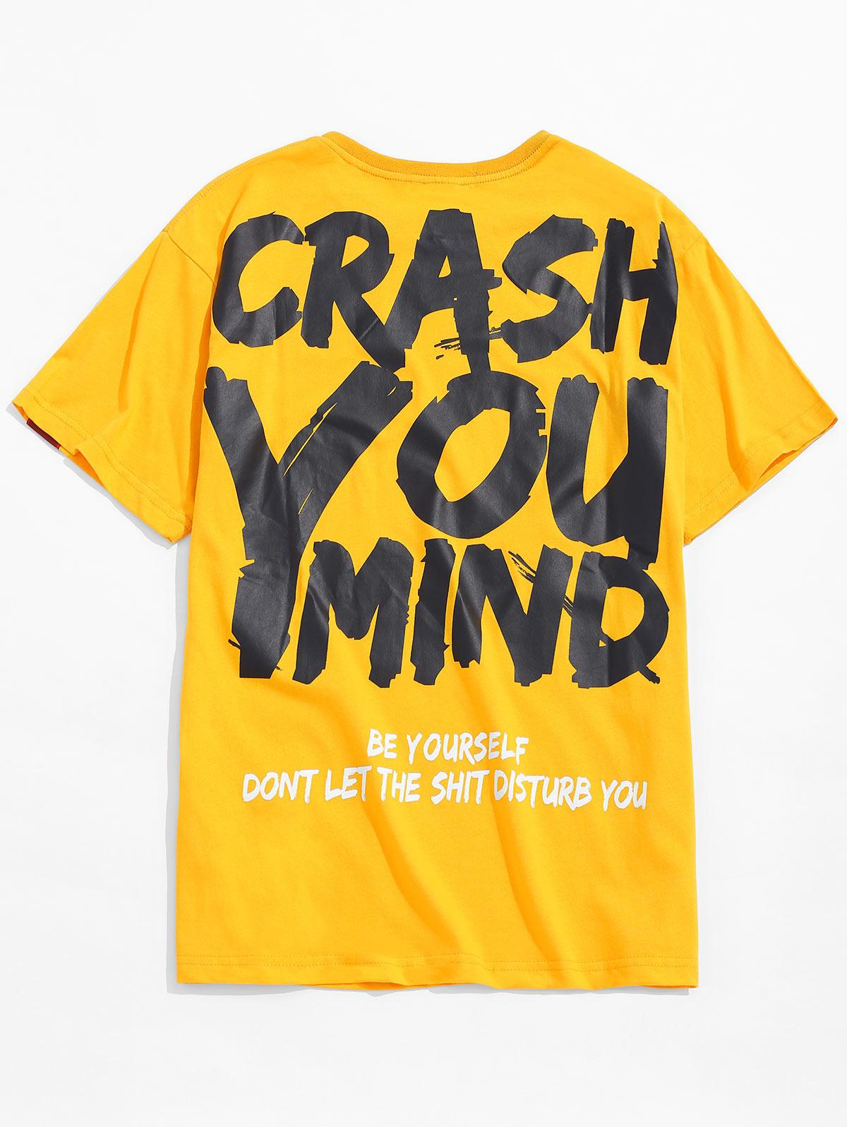 Graffiti Letter Print T-shirt, Yellow
