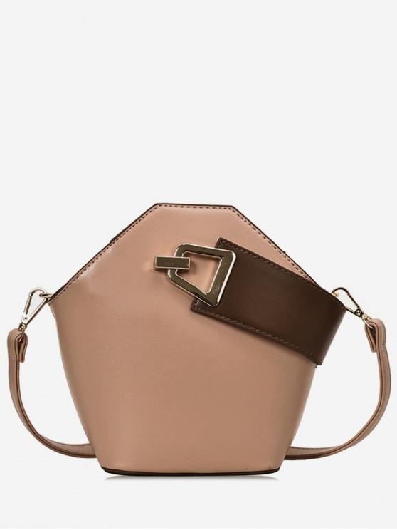 Contrast Strap Buckle Crossbody Bag - Rosa