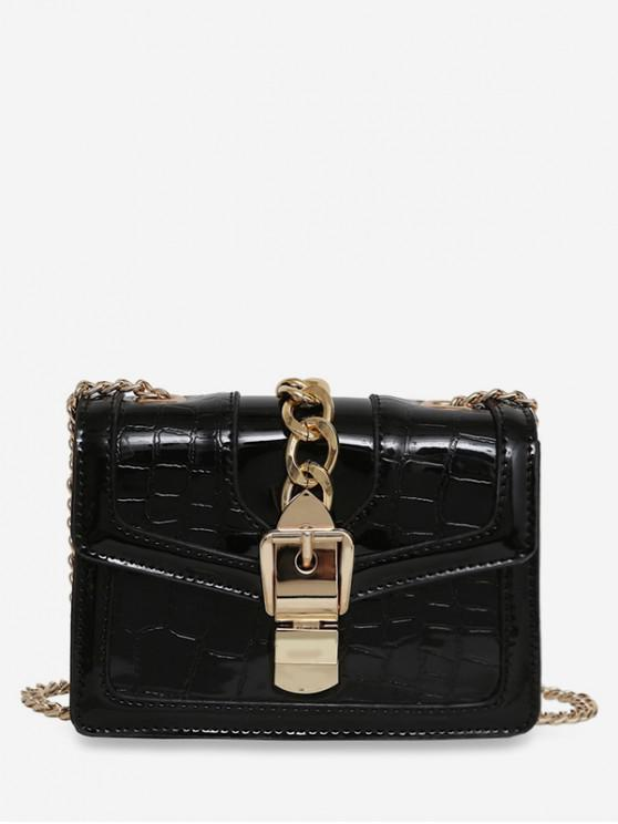 Geometric Flap Chain Crossbody Bag - أسود
