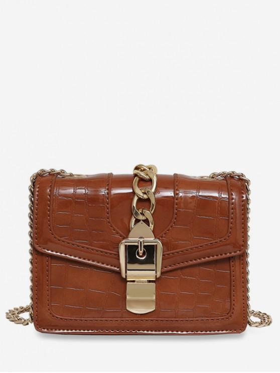 Geometric Flap Chain Crossbody Bag - BROWN