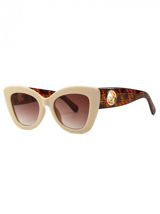 Cat Eye Shape Street Shooting Sunglasses - Beige