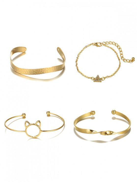 online 4Pcs Hollowed Cat Head Shape Bracelet Set - GOLD