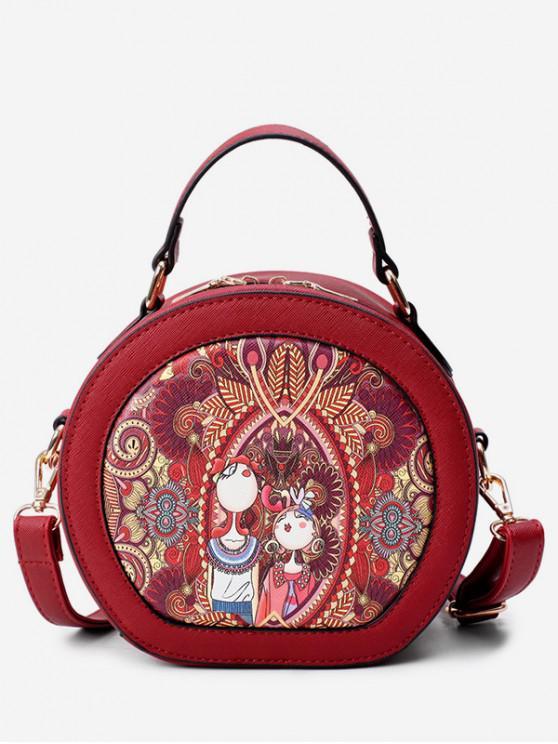 best Printed Top Handle Round Crossbody Bag - RED WINE