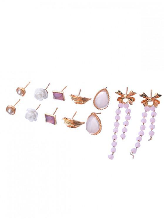 latest Bowknot Fringe Leaf Flora Stud Earrings Set - GOLD