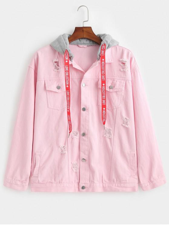 fashion Contrast Hood Distressed Denim Jacket - PINK L