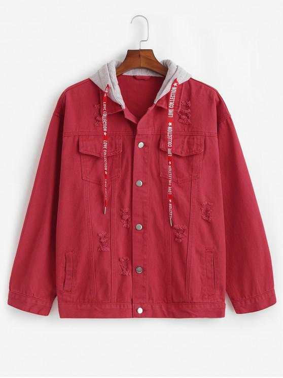 hot Contrast Hood Distressed Denim Jacket - CHERRY RED XS