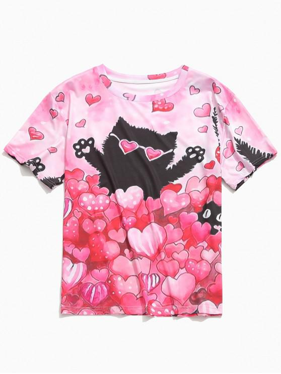 ladies Love Hearts Cat Print Short Sleeves Valentine's Day T-shirt - WATERMELON PINK S