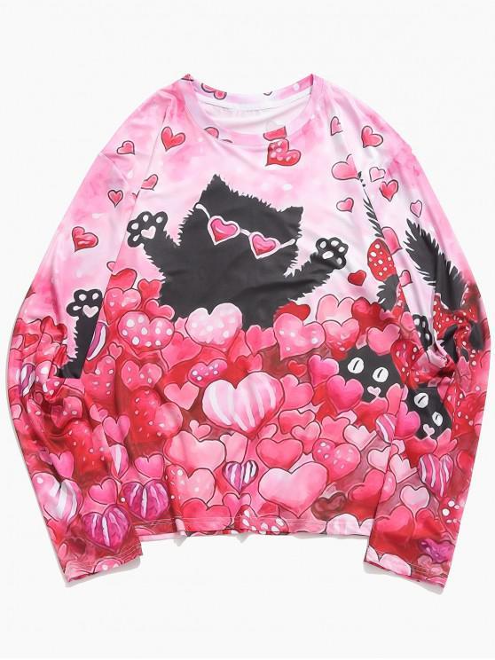 T-Shirt Casuale Stampata A Cuore E Gatto Di San Valentino Con Maniche Lunghe - Rosa Fenicottero S