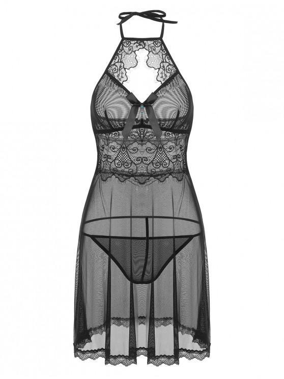 fancy Halter Lace Cut Out Lingerie Dress - BLACK ONE SIZE