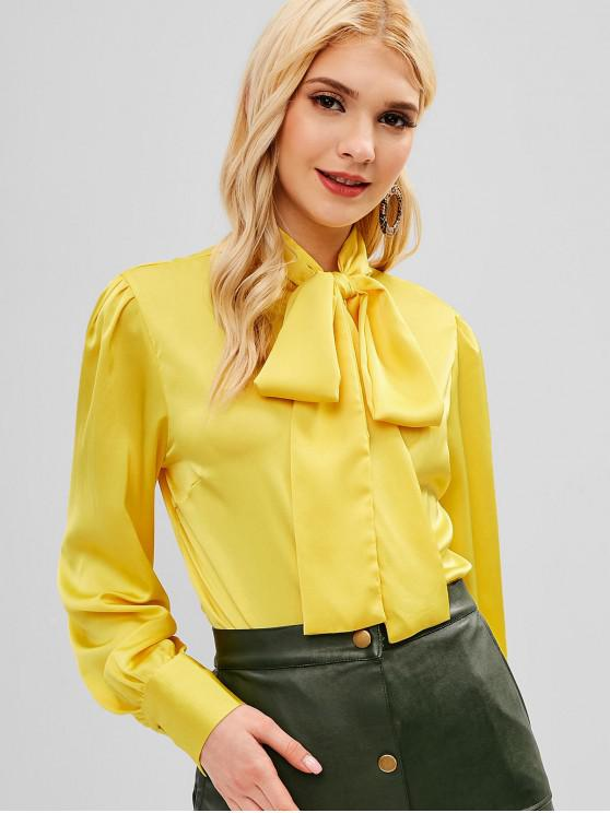 45fbc13e2adb 41% OFF  2019 Bow Neck Button Up Satin Shirt In YELLOW