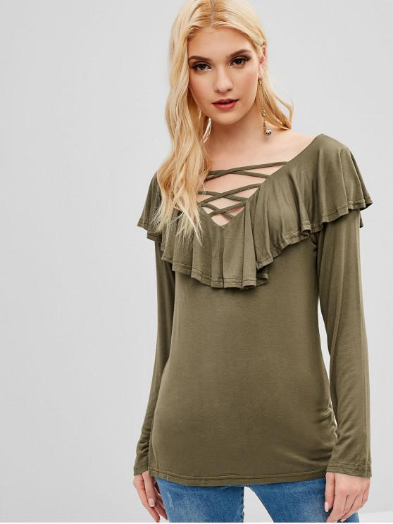 fashion Criss Cross Plain Flounce Tee - ARMY GREEN M