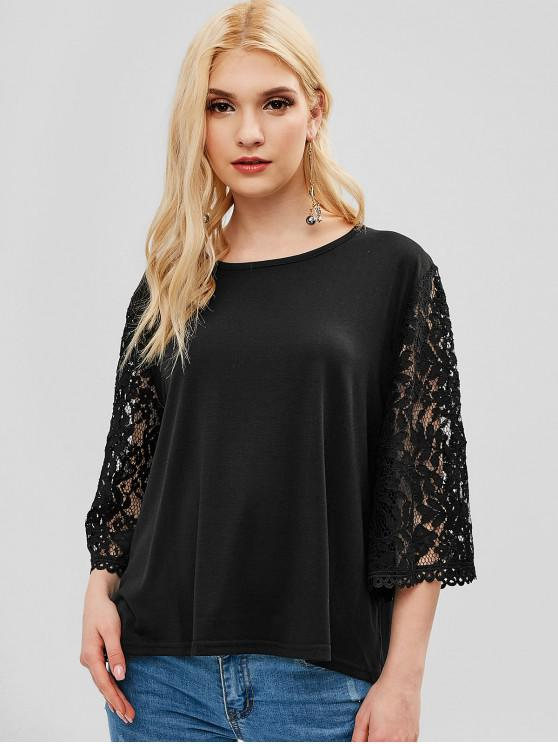 outfits Three Quarter Sleeves Lace Panel Tee - BLACK M