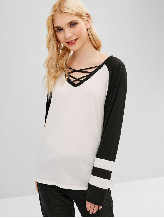 shops Criss Cross Contrast Striped Tee - WHITE M