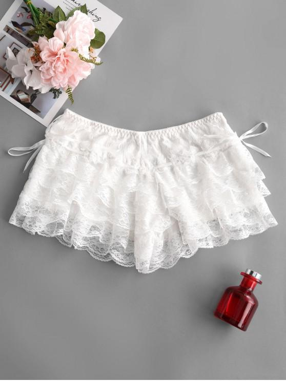 fancy Lace Tiered Shorts - MILK WHITE ONE SIZE