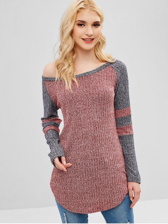 fashion Contrast Striped Raglan Sleeves Knit Tee - RED WINE S