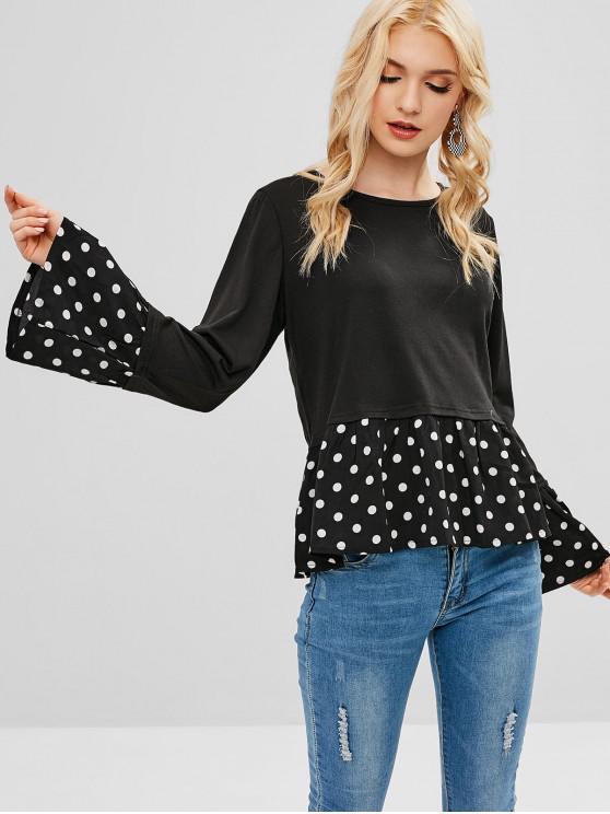 shop Flare Sleeves Polka Dot Tee - BLACK S