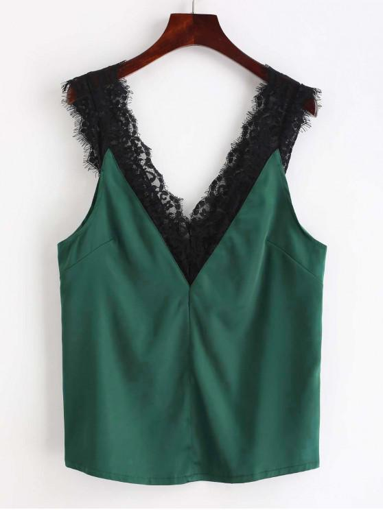 lady ZAFUL Lace Panel V Neck Tank Top - DEEP GREEN L