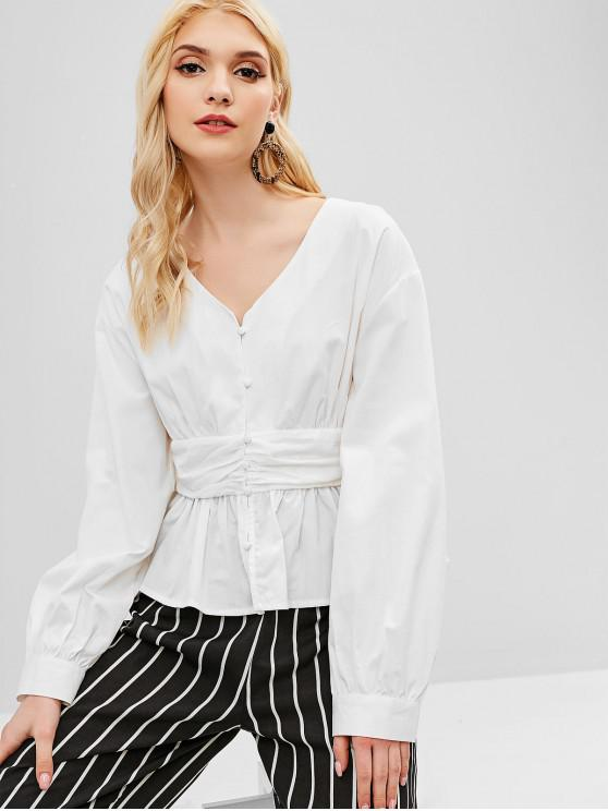 lady Button Up Skirted Blouse - WHITE M