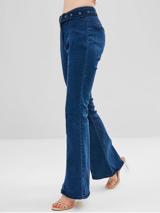 trendy Belted High Waisted Flare Jeans - DENIM DARK BLUE L