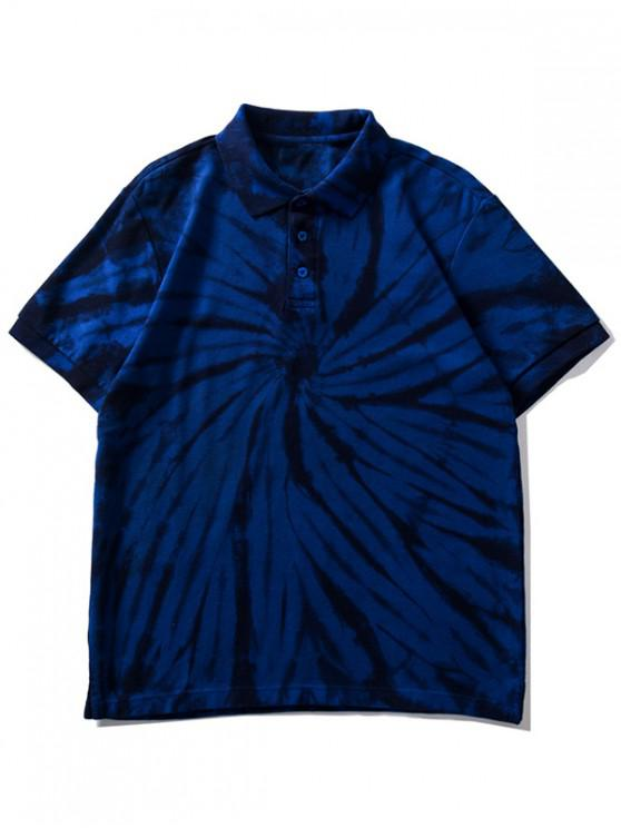 ladies Tie Dye Waffle Collared Tee Shirt - DEEP BLUE S