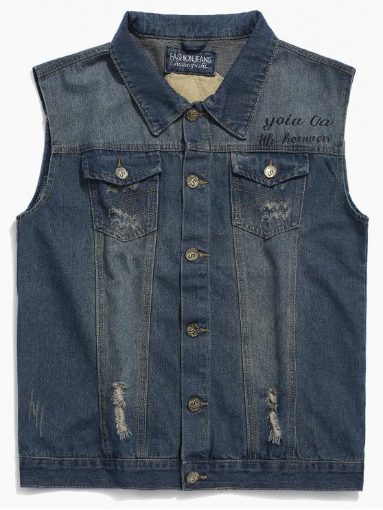 trendy Letters Print Ripped Denim Vest - DENIM BLUE 3XL