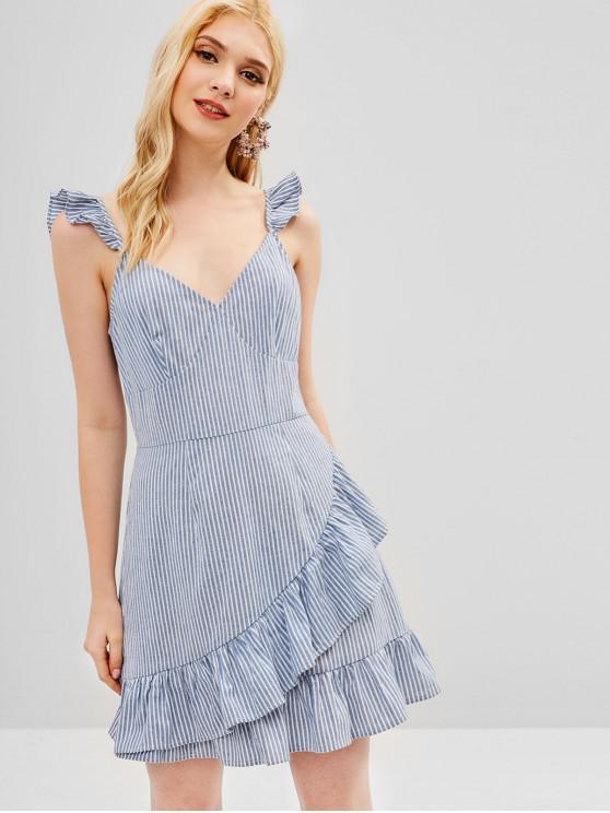 ladies ZAFUL Ruffles Striped A Line Dress - BLUE KOI L