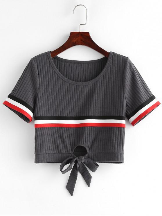 shop ZAFUL Contrast Striped Knot Crop Tee - BATTLESHIP GRAY L