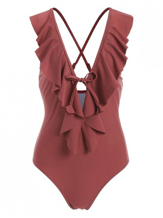new ZAFUL Ruffle Plunging Criss Cross Swimsuit - CHERRY RED L