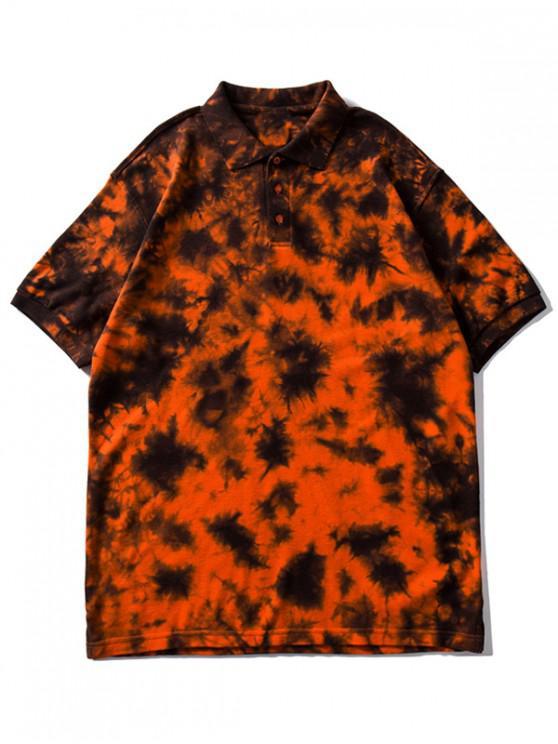 Kragen Riemchen Färbung Waffle T Shirt - Orange L