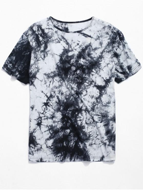 Camiseta de manga corta con estampado de tinta estampada. - Negro XL