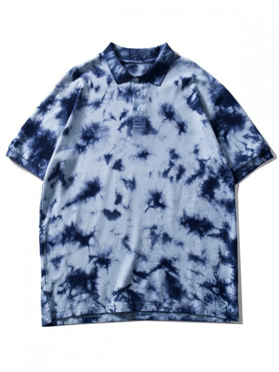 women Collared Tie Dye Waffle Tee Shirt - LIGHT BLUE M