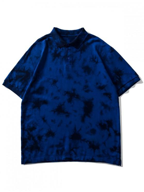 buy Collared Tie Dye Waffle Tee Shirt - DEEP BLUE L