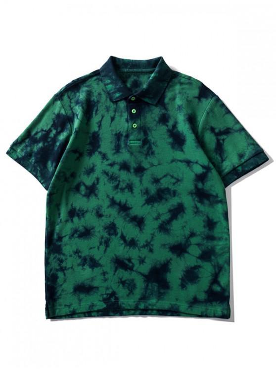 latest Collared Tie Dye Waffle Tee Shirt - PINE GREEN M