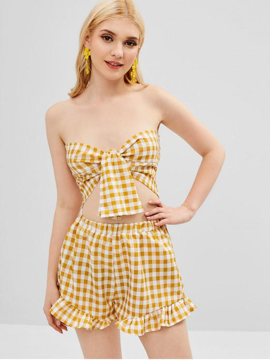 outfit ZAFUL Tie Front Plaid Top and Shorts Set - GOLDENROD M