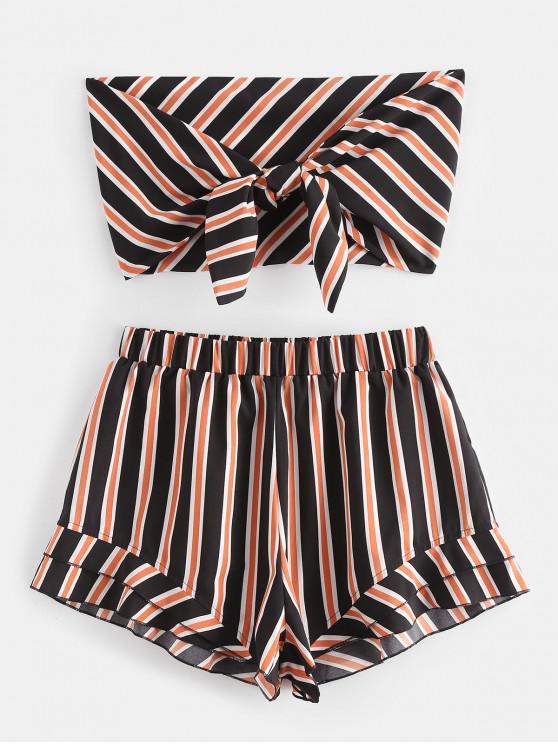 unique ZAFUL Stripes Tie Front Bandeau Top Set - BLACK L